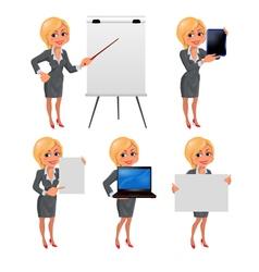 Cartoon blond business woman presentation set2 vector image vector image