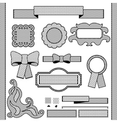 Decorative lace ribbon bows and ornaments vector image vector image