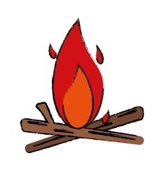 Drawing bonfire wood camping design vector