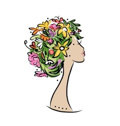 Female profile with floral hairstyle for your vector image vector image