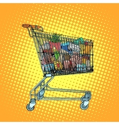 Grocery cart with food vector