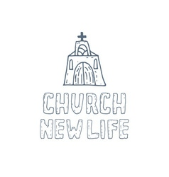 Hand drawn concept of church vector