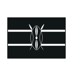 Kenya flag isolated monochrome on white background vector