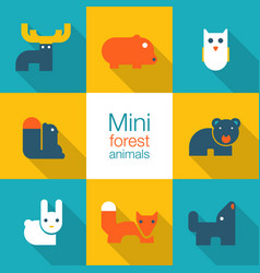 minimal forest animals vector image vector image