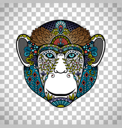 monkey head totem with ethnic ornament vector image vector image