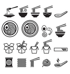 Noodle icons set vector