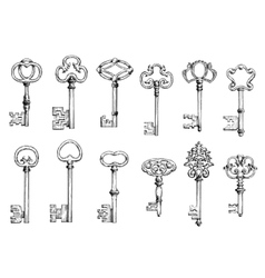 Old skeleton keys sketches set vector image vector image