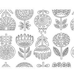 Outline seamless pattern with scandinavian flowers vector