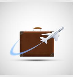 Plane flies round suitcase cargo delivery icon vector