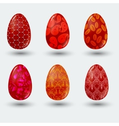 Red patterned easter eggs with shadow on gray vector