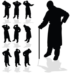 Sick man black silhouette vector