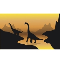 Silhouette of brachiosaurus in river vector