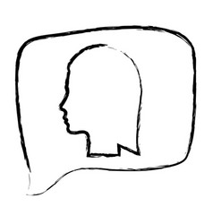sketch monochrome of rectangular speech with vector image