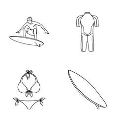 surfer wetsuit bikini surfboard surfing set vector image