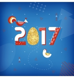 Symbol of good luck in 2017 rooster chicken and vector
