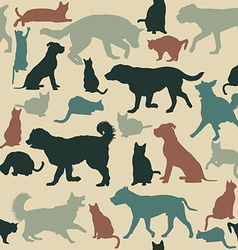 Vintage seamless background with cats and dogs vector image vector image