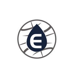 Water oil world letter e vector