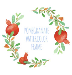 watercolor pomegranate organic wreath vector image