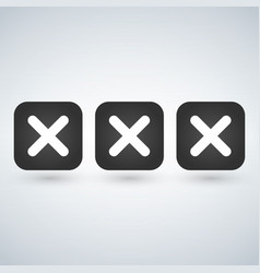 x symbol icon of 3 isolated sign symbol vector image vector image