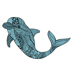 Zentangle stylized blue dolphin Hand Drawn aquatic vector image vector image