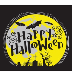 Happy halloween lettering with cemetery and bats vector