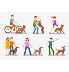 Dogs and people icons set Pets animals vector image