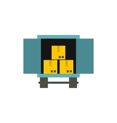 Cargo truck with load icon flat style vector