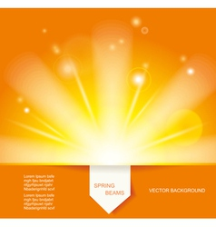 Sun beams with orange yellow blurred vector
