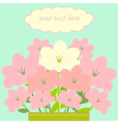 Bouquet of pink flowers card vector