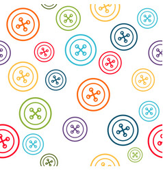 Sewing pattern with colorful line buttons vector