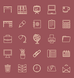 Workspace line color icons on red background vector