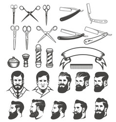 Set of barber tools mans heads design elements vector