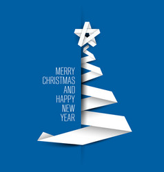 simple blue card with christmas tree made from vector image