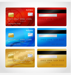 Realistic credit cards set vector