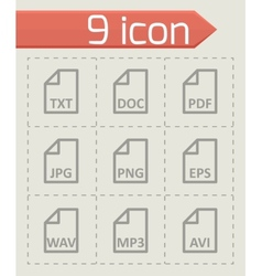 Black file type icon set vector