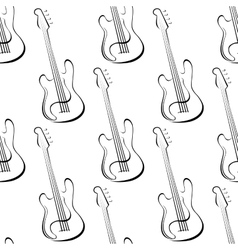 Outline electric guitars seamless pattern vector