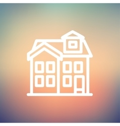 House with chimney thin line icon vector