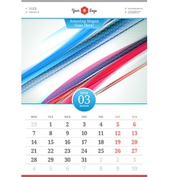 Wall Calendar 2016 March Template with Abstract vector image