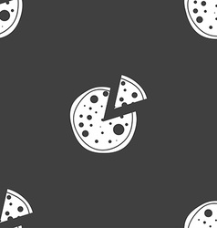 Pizza icon seamless pattern on a gray background vector