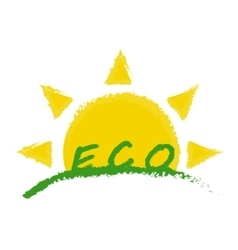 Eco product label sunrise in green valley vector