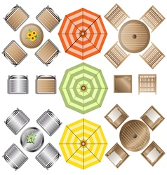 Outdoor furniture top view set 1 for landscape vector