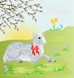 Easter lamb on the meadow and pussy willow vector