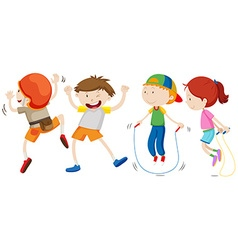 Boys and girl in different movement vector
