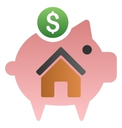 Home savings piggy bank gradient icon vector