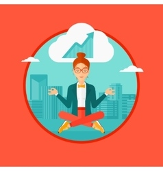 Peaceful business woman doing yoga vector