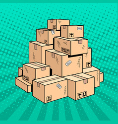 Boxes with goods pop art vector