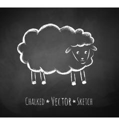 Chalkboard drawing of sheep vector image vector image
