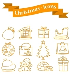 Collection of merry christmas set icons vector