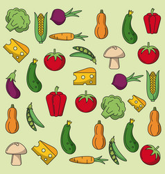 colorful background with pattern of vegetables vector image