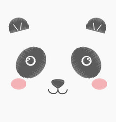 Cute embroidery toy panda vector